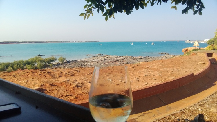 Lunch view from the cafe at the port, looking back over roebuck bay to broome