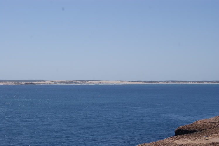 Views over to Dirk Hartog island, has an eco lodge and a barge in peak time but not many go there. Looks beautiful as well.