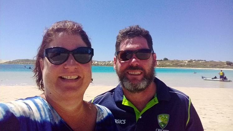 coral bay selfie with my salty sailor bushman!