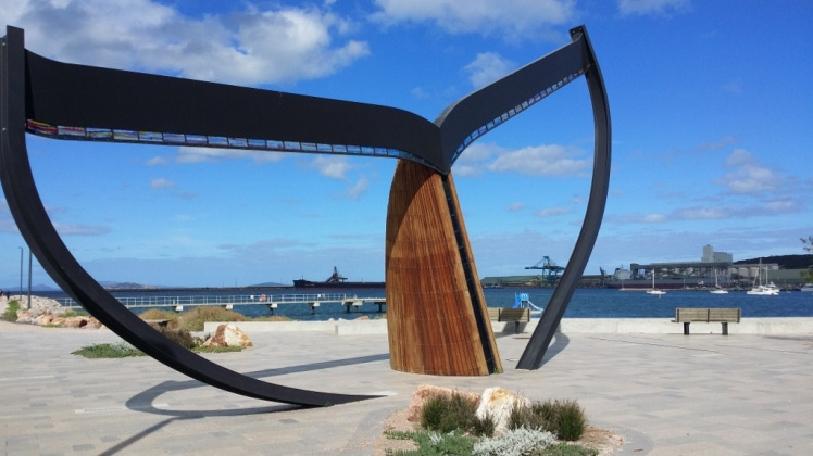 The whale statue on the newly developed foreshore
